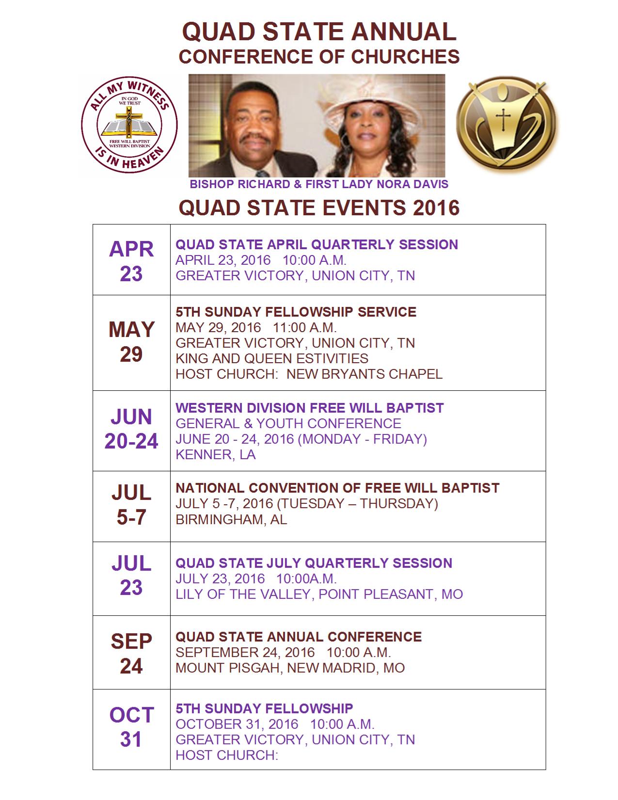 2016 Quad State Annual Calendar